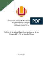 Análise da Resposta Natural e a um Degrau de um circuito RL e RC utilizando PSpice
