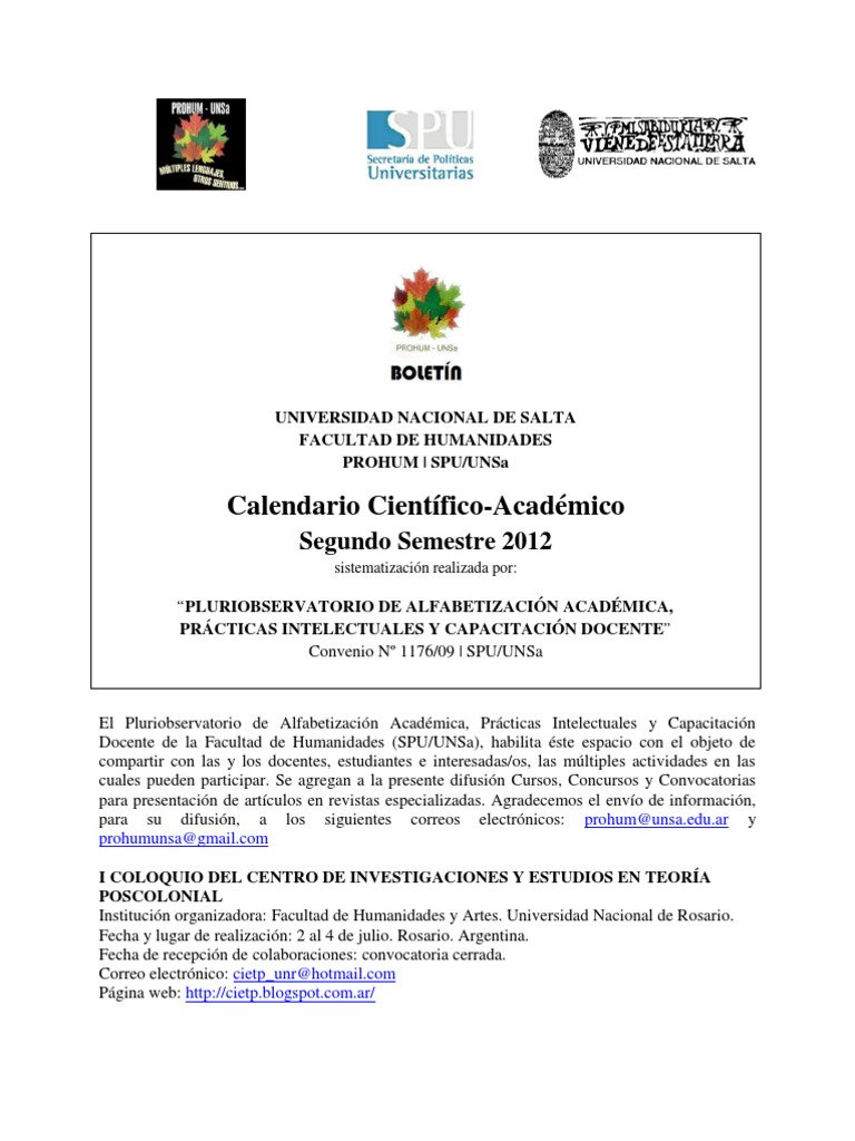 8b0ed7e9b Calendario Científico-Académico  2do Semestre 2012. Sistematización  realizada por el Pluriobservatorio UNSa
