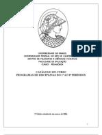 UFRJ Pedagogia Grad-Catalogo Curricular