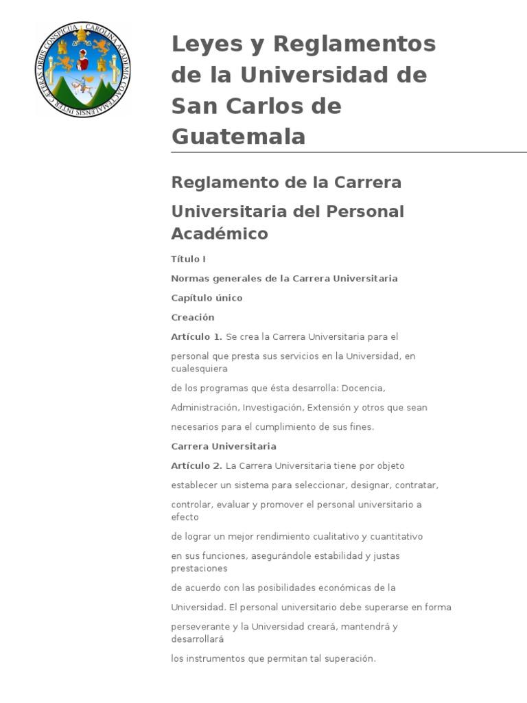 reglamento de la carrera del personal academico, universidad de san ...