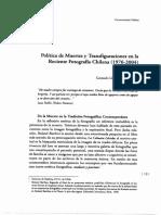 Política de muertes y Transfiguraciones en la Reciente Fotografía Chilena 1976-2004