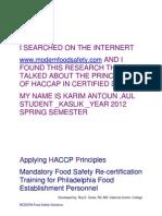 Applying HACCP Principles