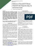 Erosion Wear Behavior of Inconel 625 Ptaw