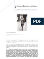 Entrevista inédita de Jacques Lacan à revista italiana Panorama