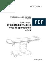 Manual Mesa Quirurgica MAQUET 1118