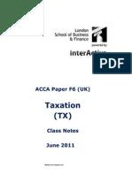 F6 Taxation (UK FA010) Class Notes LSBF J11
