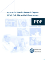 Application Form for Research Degrees MPhil