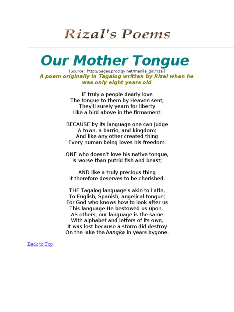 Our Mother Tongue | Philippines | Poetry