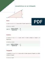Razones trigonométricas en un triángulo rectángulo