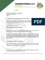Observaciones Licitacion 001 de 2012