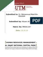 HUMAN RESOUCES MANAGEMENT – AL NAJAF NATIONAL CAPITAL PARK
