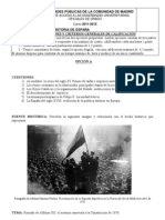 Examen Historia de España #Selectividad Madrid 2012