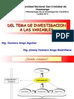 C5 DEL TEMA DE INVESTIGACIÓN A LAS VARIABLES