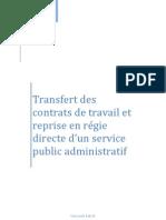 Mémoire- Transfert des contrats de travail et reprise en régie directe par un SPA