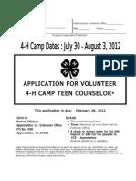 2012 4-H Camp Teen Counselor Application