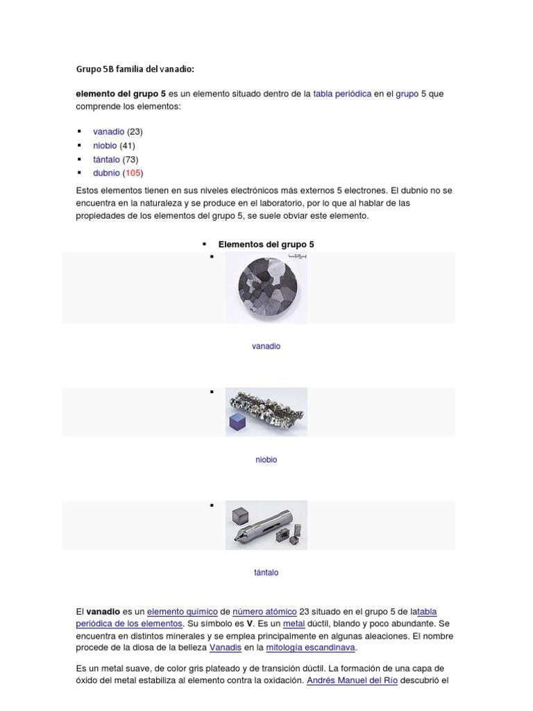 grupo 5b y 6b de la tabla periodica - Tabla Periodica De Los Elementos Quimicos Grupo 5a