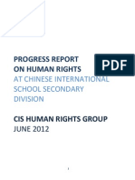 2012 Progress Report on Human Rights at Chinese International School Secondary Division