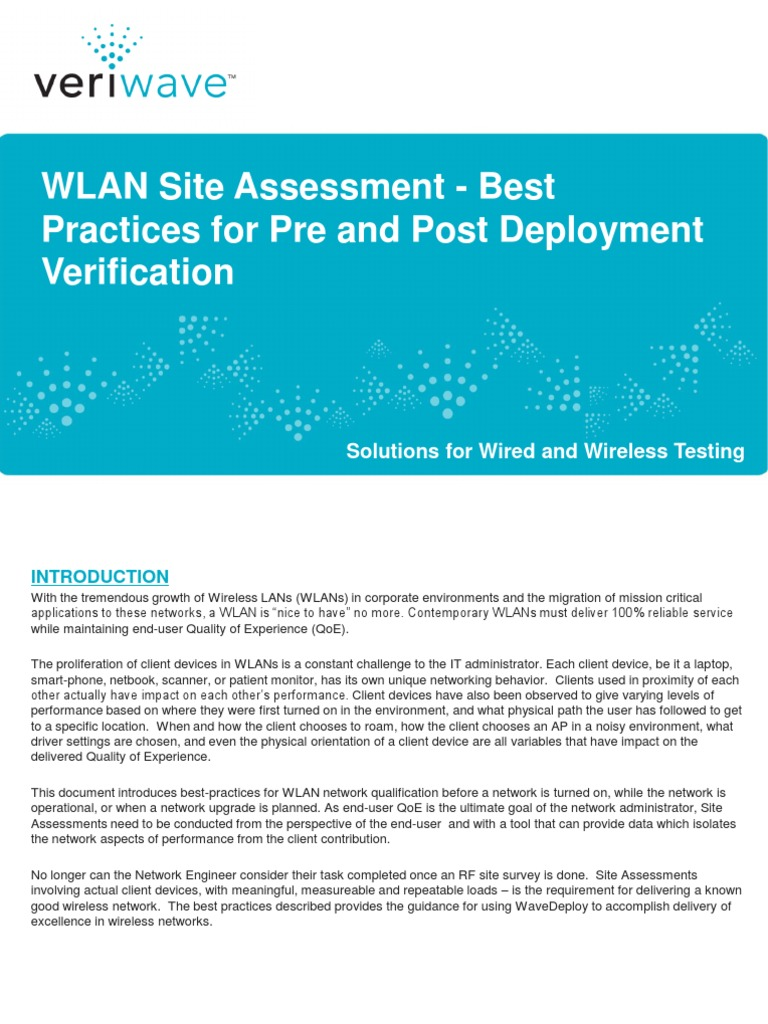 Best Practices for Pre and Post Deployment Verification   Wireless ...