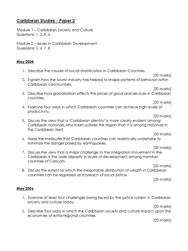 Caribbean Stu S Past Paper Questions