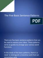 The Five Basic Sentence Patterns