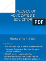Privileges of advocate and solicitor