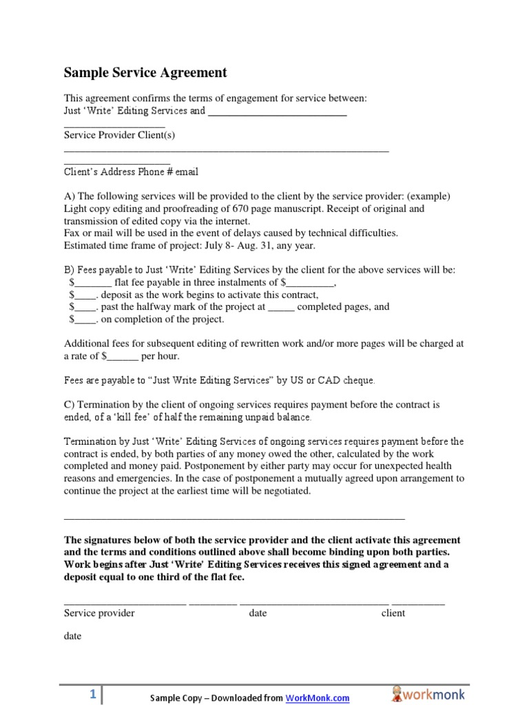 Sample service agreement template platinumwayz