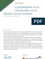 Jornadas Interncionales Las figuras profesionales del ámbito socioeducativo en el Espacio Común Europeo - 20 aniversario del Centro