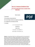Practical Design of a Continuous Distillation Plant