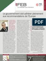 Le gouvernement doit adhérer pleinement aux recommandations de l'Europe, Infor FEB 19, 7 juin 2012