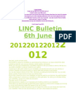 Bulletin 6th June 2012