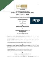Plenaria Senado - Orden del día - 6 de junio de 2012