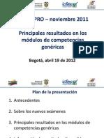 Presentacion Resultados Modulos Genericas SABER PRO Abril 2012