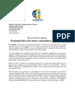 Revela Pérez Riera Economía lleva tres meses consecutivos en aumento