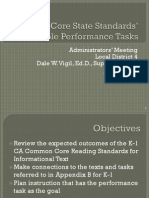 Common Core State Standards' Performance Tasks