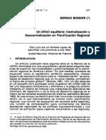 Un Dificil Equilibrio-Centralizacion y Descentralizacion en Planificacion Regional-SergioBoisier