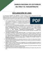 PRONUNCIAMIENTO DE LA ASAMBLEA NACIONAL DE LOS PUEBLOS