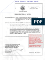 HI DOH Official Verification of President Obama's Hawaiian Birth - w Note