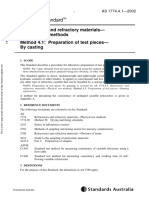 As 1774.4.1-2002 Refractories and Refractory Materials - Physical Test Methods Preparation of Test Pieces - B