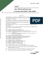 As 1816.1-2007 Metallic Materials - Brinell Hardness Test Test Method (ISO 6506-1-2005 MOD)