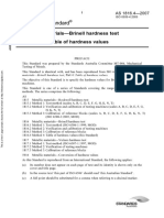 As 1816.4-2007 Metallic Materials - Brinell Hardness Test Table of Hardness Values