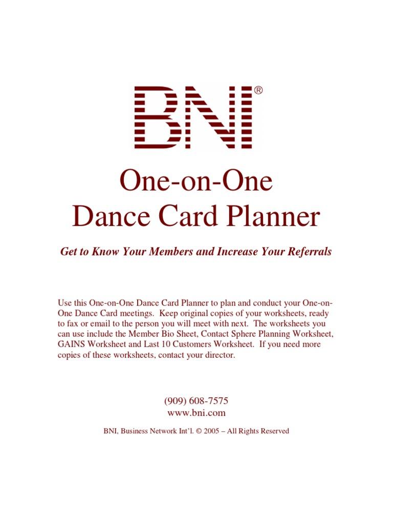 Dance Card Planner Goal – Dance Worksheets