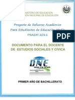 Actividades de Refuerzo  - Estudios Sociales - Segunda Prueba de Avance - Primer Año (PRAEM 2011)