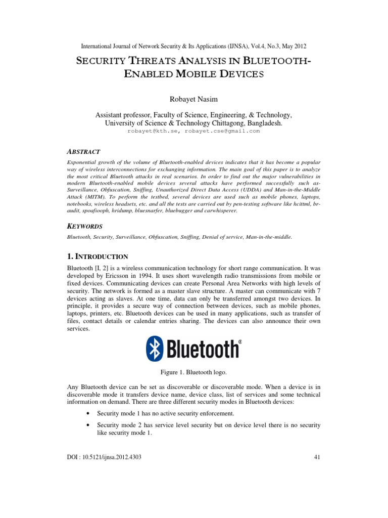 Security Threats Analysis in Bluetooth-Enabled Mobile