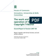 UK Copyright Tribunal - Parliamentary Report