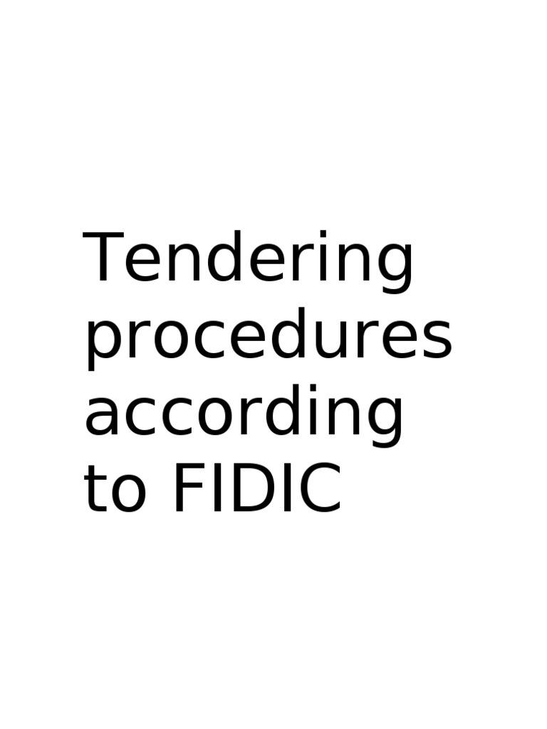 FIDIC Tendering Procedures