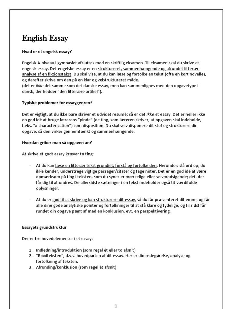 engelsk essay analysemodel