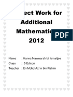 Project Work for Additional Mathematics 2012