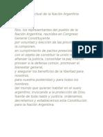 Preámbulo actual de la Nación Argentina actual