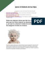 Tips Para Mejorar El Intelecto de Tus Hijos