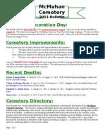 McMahan Cemetery -- 2011 Bulletin